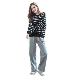 (ミニザル)MiniZaru ルームウェア 部屋着 綿100 レディース パジャマ ゆったり 長袖 ロングパンツ 上下 セット かわいい 肌 hilife