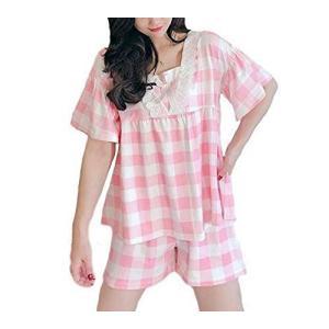 エスポワール エース レディース 苺 チェック 柄 ルームウェア ゆったり 半袖 ショートパンツ パジャマ セット 寝間着 部屋着 セットア hilife