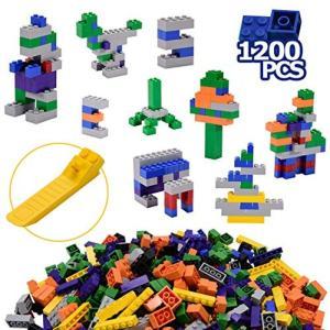 Towith ブロック おもちゃ 知育玩具 大容量 カラフル 遊具 積み木 子供 キッズ 1200ピース|hilife