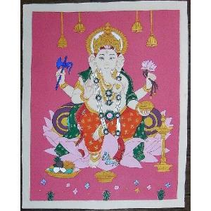 聖天ガネーシャ 手描き曼荼羅Mn1109|himal
