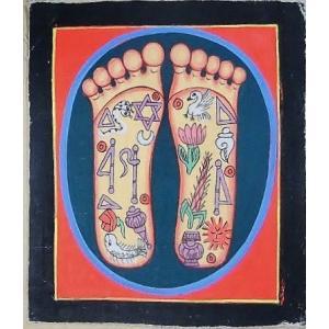 釈迦の足の裏曼荼羅 Mn4506 小 手描き|himal