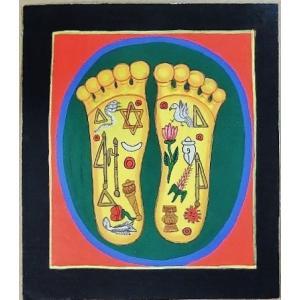 釈迦の足の裏曼荼羅 Mn4508 小 手描き|himal