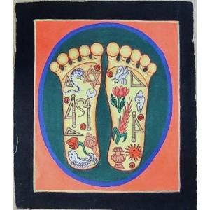 釈迦の足の裏曼荼羅 Mn4509 小 手描き|himal