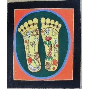 釈迦の足の裏曼荼羅 Mn4510 小 手描き|himal