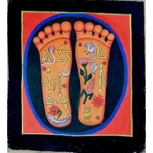 釈迦の足の裏曼荼羅 Mn4602 小 手描き|himal