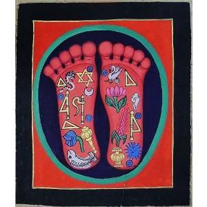 釈迦の足の裏曼荼羅 Mn4612 小 手描き|himal