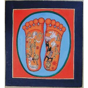 釈迦の足の裏曼荼羅 Mn4701 小 手描き|himal