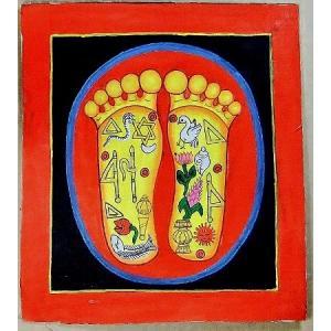 釈迦の足の裏曼荼羅 Mn5301 小 手描き|himal