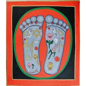 釈迦の足の裏曼荼羅 Mn7601 大 手描き|himal