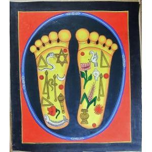 釈迦の足の裏曼荼羅 Mn7801 大 手描き|himal