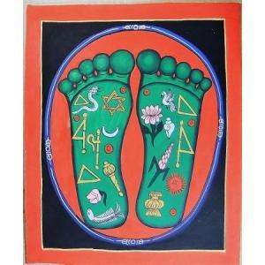 釈迦の足の裏曼荼羅 Mn8001 大 手描き|himal