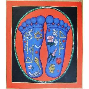釈迦の足の裏曼荼羅 Mn8101 大 手描き|himal