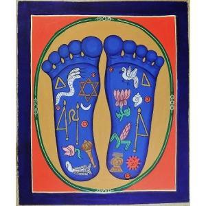 釈迦の足の裏曼荼羅 Mn8104 大 手描き|himal