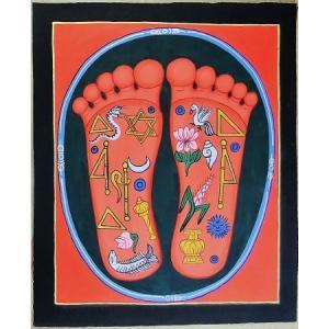 釈迦の足の裏曼荼羅 Mn8301 大 手描き|himal