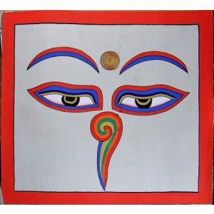 釈迦第三の眼曼荼羅 Mn8401 心眼 手描き 大|himal