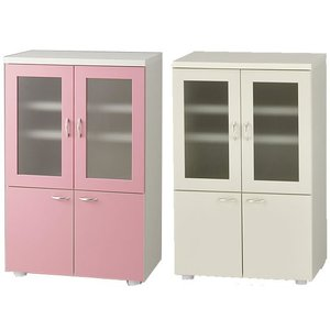 食器棚完成品日本製ピンクとアイボリーから選択|himalaya2