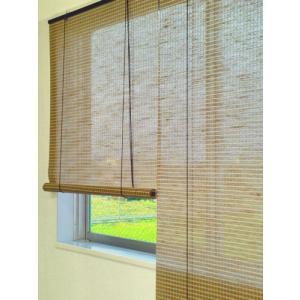 天然麻ロールアップスクリーンチェック柄 ボンテ(bonte)ベージュ 88x135 和風 アジアン|himalaya
