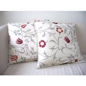 北欧麻クッションカバー2枚組 floral 45x45 *中身は付属しません。|himalaya