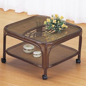 籐ラタン テーブル角型キャスター付 himalaya