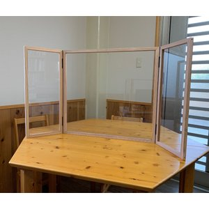 ウイルス対策透明アクリルパーテーション折りたたみ式3面タイプ日本製|himalaya