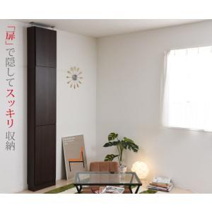 壁面収納突っ張り薄型本棚扉付き目隠しキャビネットふた(とびら)付きなので壁と同化|himalaya