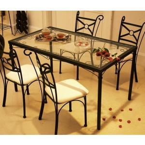 スパニッシュガーリー ガラスダイニングテーブル  himechair|himalaya
