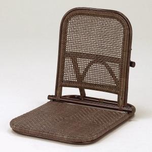和ラタン アジロ編み折畳み座椅子ダーク 籐 アジアン|himalaya