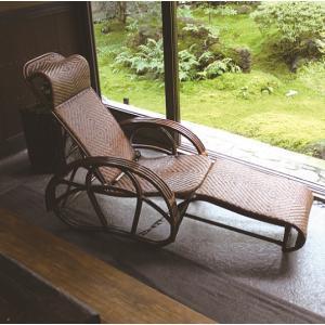 籐ラタンリクライニングチェア寝椅子シェーズロング 折りたたみ式 himalaya