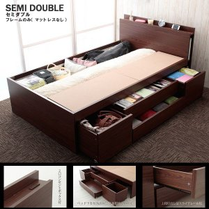 大容量収納付きベッドセミダブル フレームのみ|himalaya