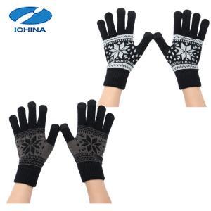 イチーナ ICHINA  手袋 メンズ レディース タッチグローブ雪柄 IC-6298|himaraya