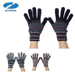 イチーナ ICHINA  手袋 メンズ レディース ニットホットレイ幾何ボーダーGV IC-3164|himaraya