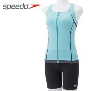 スピード speedo   フィットネス水着 セパレート レディース フルジップセパレーツ AquaGym SD58Z19-BB|himaraya