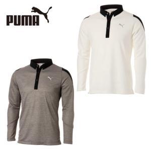 ゴルフにオススメの長袖ポロシャツです。ボタンダウン仕様で、襟と前立ての切替えとプーマロゴのバックプリ...