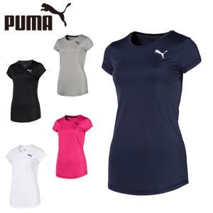 ポリエステル素材を使用したシンプルな半袖Tシャツ。運動時に伸びてもおなかがでないように、裾はややラウ...