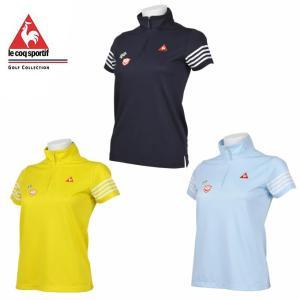ルコック le coq sportif ゴルフウェア ポロシャツ 半袖 レディース ラインボーダースタンドカラーシャツ QGWNJA12|himaraya