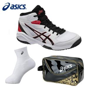 アシックス バスケットボール ジュニア DUNKSHOT MB 8 ダンクショット+ミドルソックス+エナメルシューズバッグ TBF139 0190+XAS856+EB039A asics|himaraya