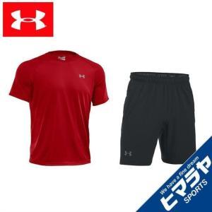 アンダーアーマー 半袖Tシャツ ハーフパンツ セット メンズ テックTシャツ + ショートパンツ 1228539-600 + 1304127-001 UNDER ARMOUR|himaraya