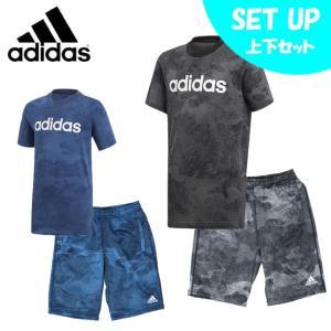 アディダス 半袖Tシャツ ハーフパンツ セット ジュニア リニアロゴ Tシャツ + ライトスウェット ハーフパンツ EMX73 + ETP03 adidas