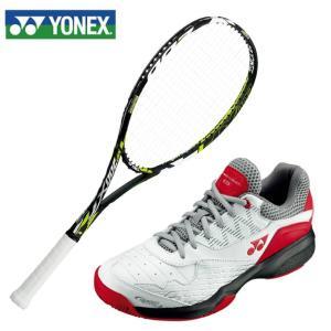 ヨネックス ソフトテニスラケットセット ラケット + テニスシューズ 張り上げ済み メンズ レディース マッスルパワー200XF + パワークッション103 YONEX|himaraya