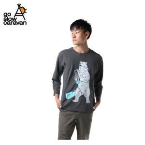 ゴースローキャラバン Go Slow Caravan Tシャツ 長袖 メンズ 鹿の子 クマ 8分袖 391904 CHARCOAL od|himarayaod