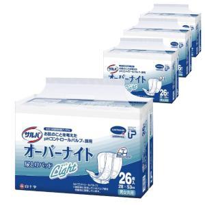 紙おむつ 大人用 白十字 PUサルバオーバーナイト ライト 1ケース(26枚×4袋) 尿とりパット (パッド) 大人用おむつ 介護用オムツ (おしっこ約4回分)|himawari-kaigo