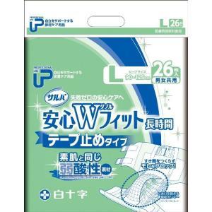 白十字 P.Uサルバ安心Wフィット テープタイプ (Lサイズ) (袋単位販売:1袋26枚入)業務用 大人用おむつ 紙おむつ 介護用オムツ (おしっこ約5回分)|himawari-kaigo