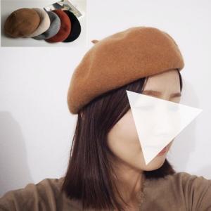 ウール混ベレー帽 レディース 帽子 ベレー ファッション小物 小物 ブラック ブラウン アイボリー グレー レッド himawari1013