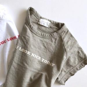 キッズ ナイスTシャツ 子供服 韓国子供服 ロゴ入りTシャツ 女の子 男の子 80 90 100 110 120 カーキ ホワイト 白|himawari1013