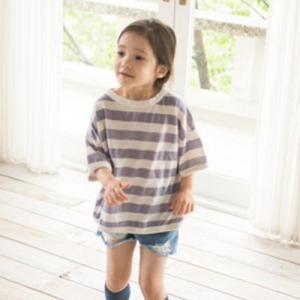 キッズ ふとボーダーTシャツ Tシャツ ボーダー 女の子 男の子 ゆったり パープル ベージュ シンプル 90 100 110 120 himawari1013