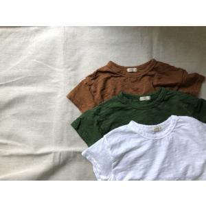 キッズ コットン無地Tシャツ 子供服 Tシャツ 女の子 男の子 グリーン ホワイト ブラウン 綿100% 80 90 100 110 120|himawari1013
