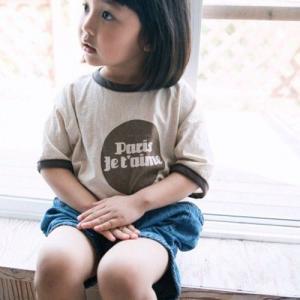 キッズ バイカラーTシャツ 子供服 韓国子供服 Tシャツ 男の子 女の子 男女兼用 ベージュ ブラウン 90 100 110 120|himawari1013