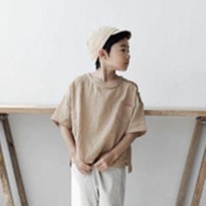 キッズ リネン混ボタンプルーオーバー 子供服 韓国子供服 男の子 女の子 リネン Tシャツ ボタン ベージュ 90 100 110 120|himawari1013