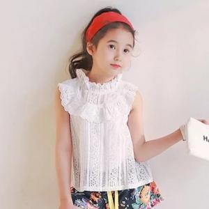 キッズ レースブラウス 子供服 韓国子供服 女の子 レース ノースリーブ ホワイト 90 100 110 120|himawari1013