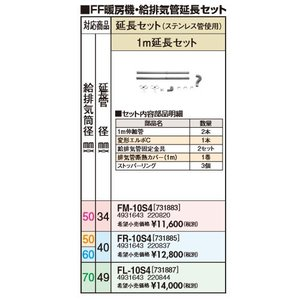 サンポット 1m延長セット FR-10S4 給排気筒径50・60mm延長管径40mm / FF式給排気管延長セット(ステンレス)|himawaridensetsu